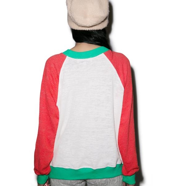 Wildfox Couture Pastel Snow Fox Kim Sweater