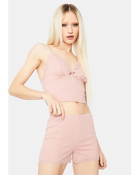 Rose Kiss Me Softly Lace Trim Shorts Set
