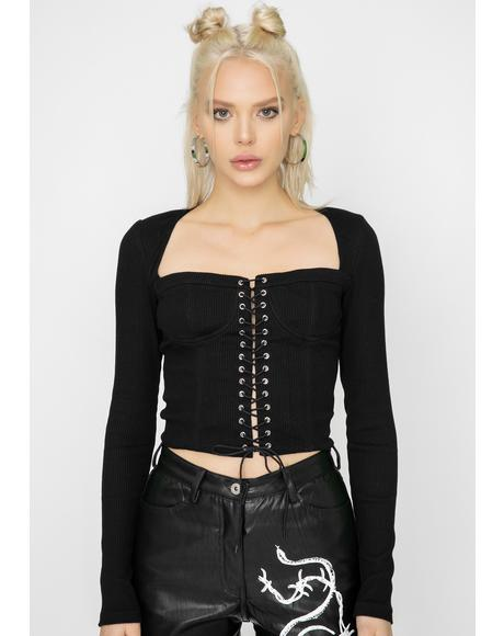Black Portia Lace Up Top