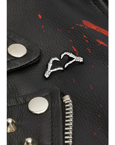 Skeleton Heart Hands Pin