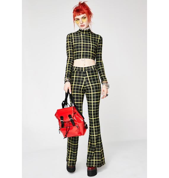 Sugarpuss Hit Tha Books Plaid Mock Crop Top
