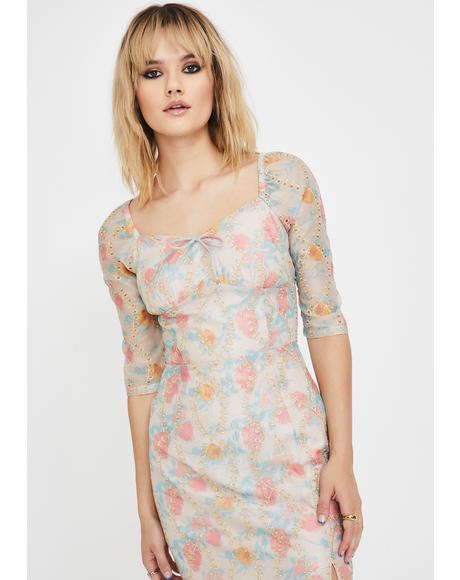 Organza Floral Midi Dress
