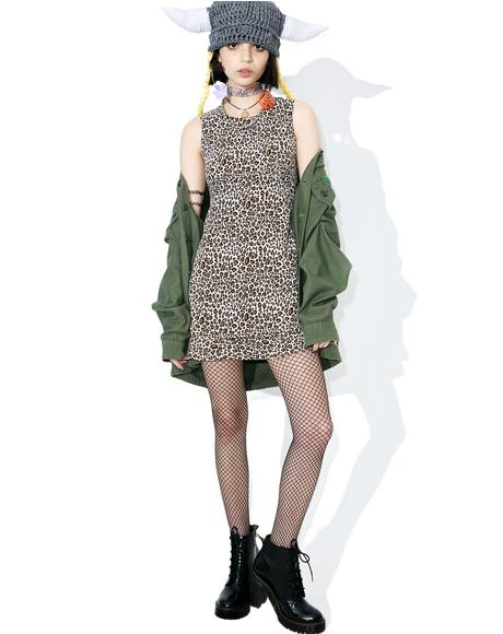 Vintage 90s Leopard Babydoll Dress
