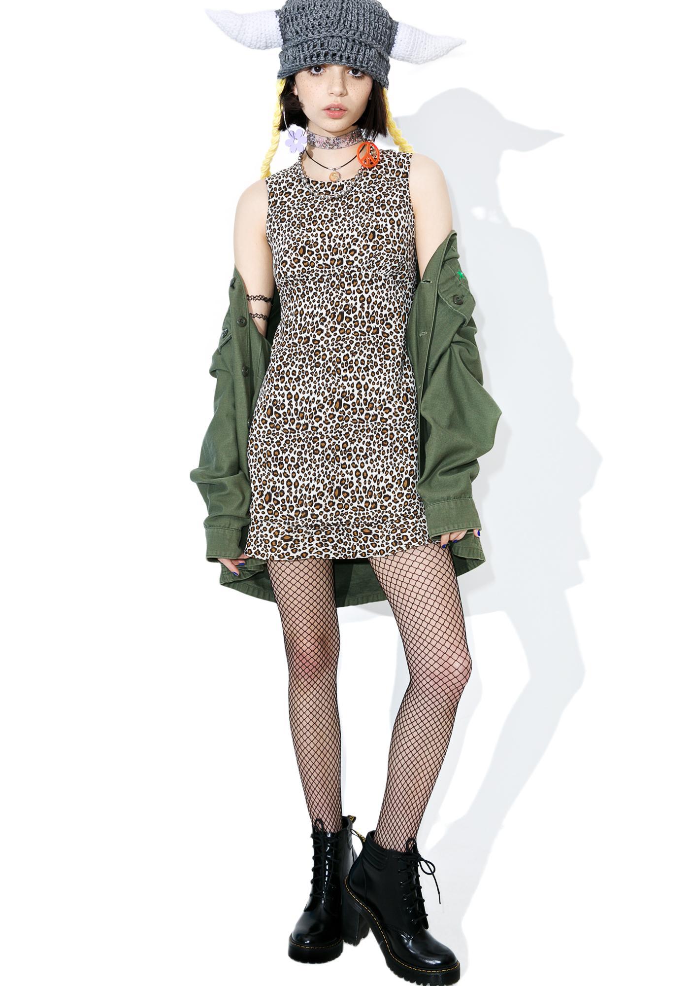 Vintage 90s Leopard Babydoll Dress