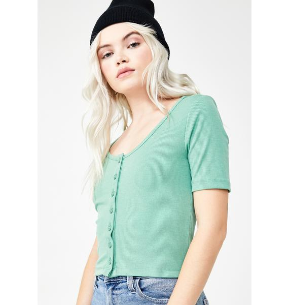 Lazy Oaf Button-Through Heart Top
