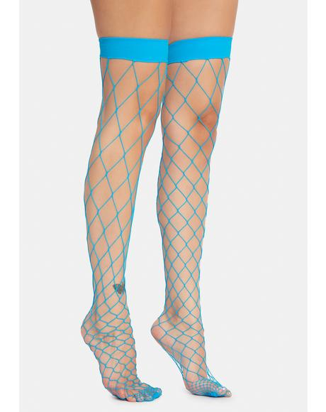 Turquoise Doomsday Net Thigh Highs