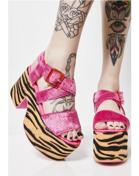 Fierce Feline Platform Sandals