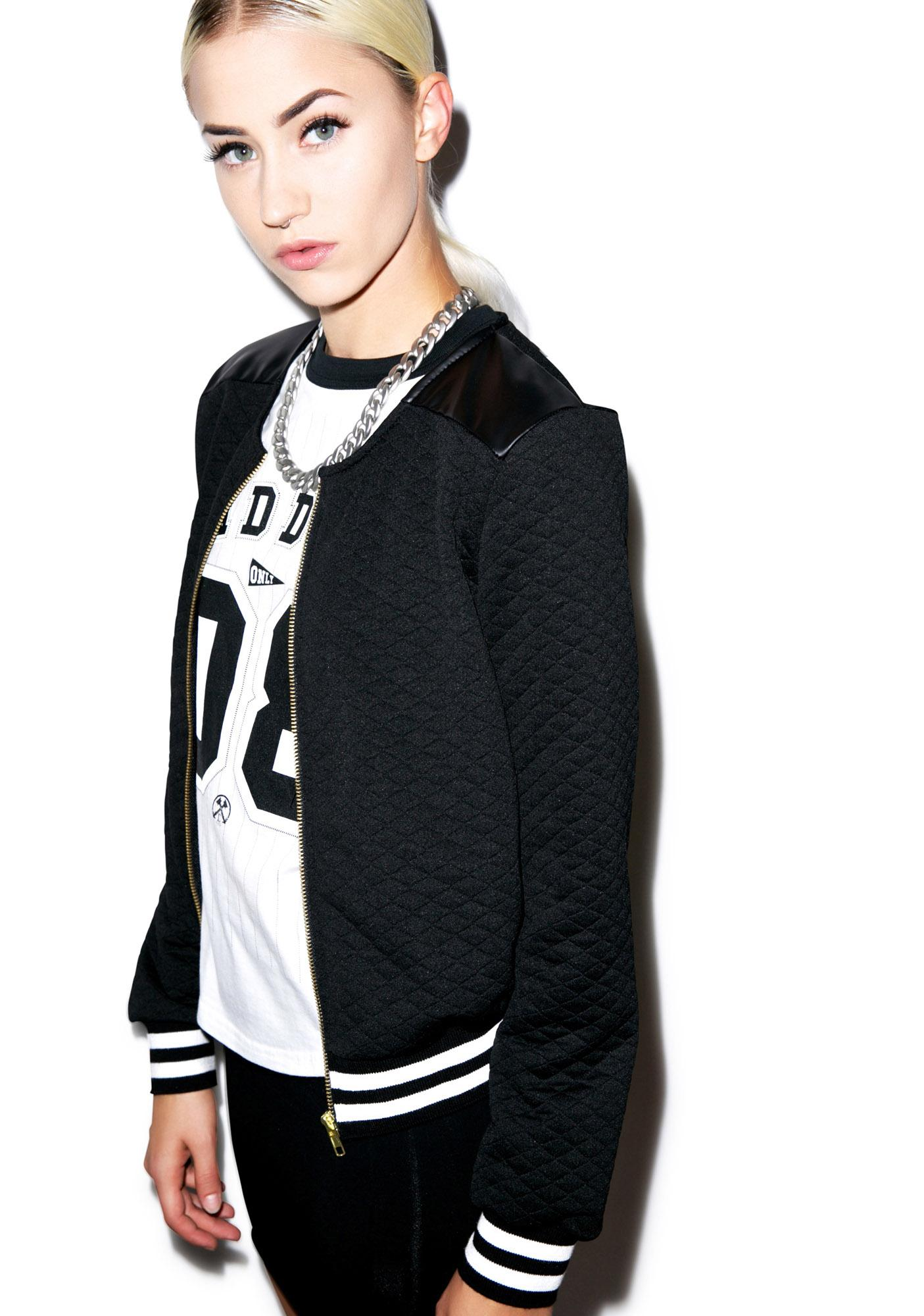 High School Drop Out Quilted Varsity Jacket Dolls Kill