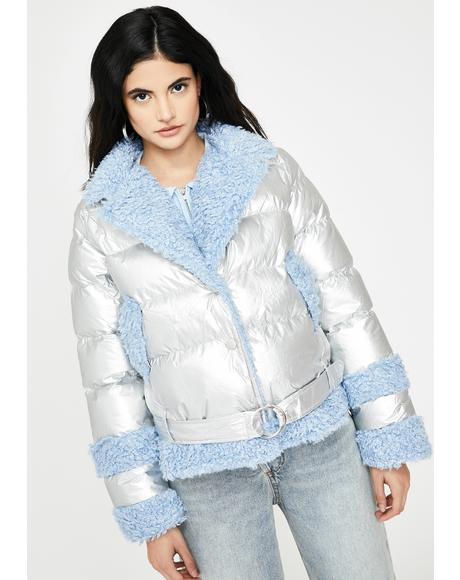 Metallic Fuzzy Puffer Jacket