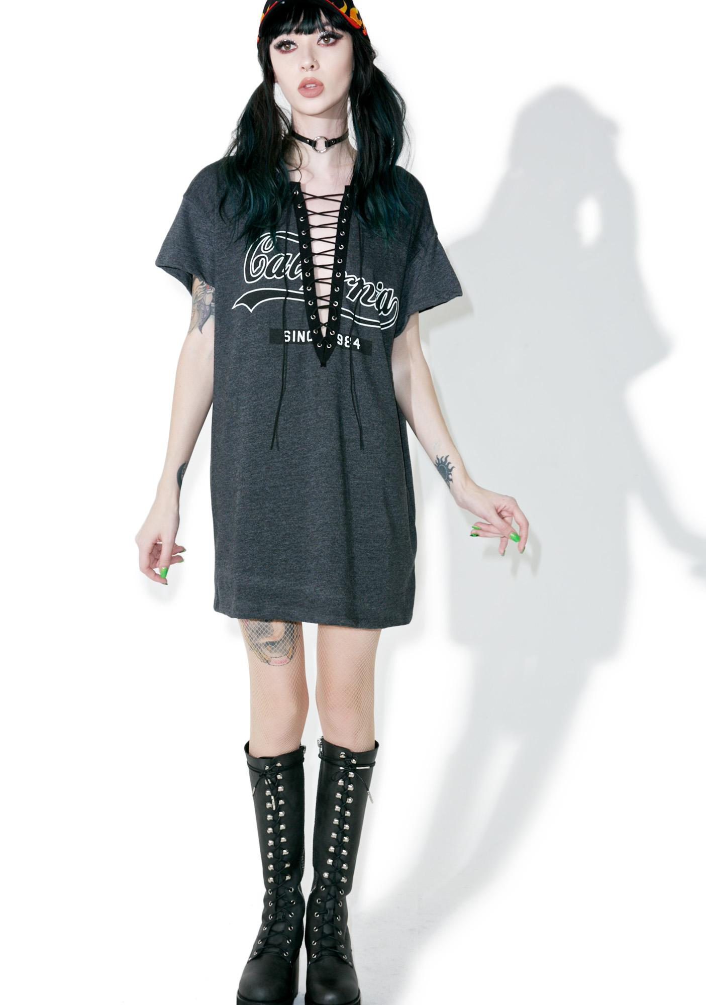 California Bitch Lace Up Tee