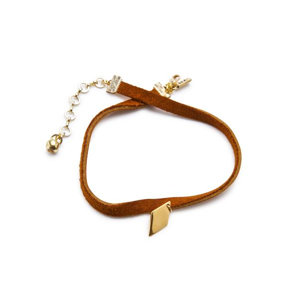 Vanessa Mooney The Golden Diamond Leather Choker