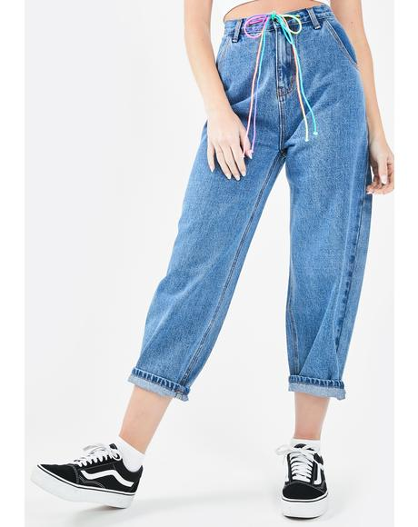 Denim Drawstring Pants