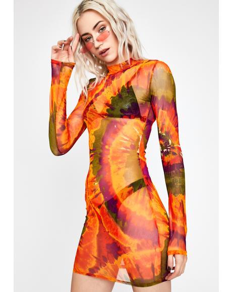 Amber Smoke Signals Mesh Dress