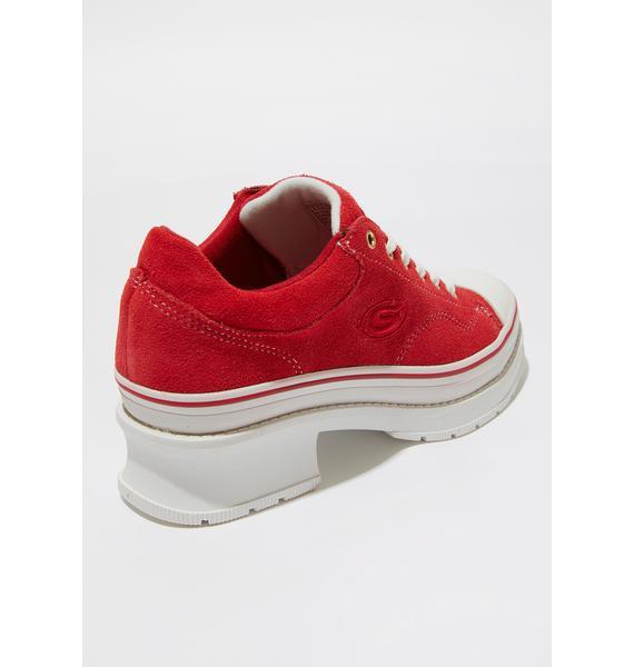 Skechers Red Softy Heartbeats Sneakers