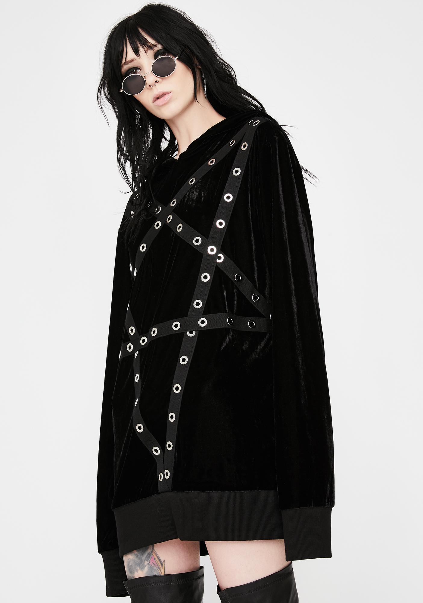 Killstar Wicca Velvet Pullover Hoodie