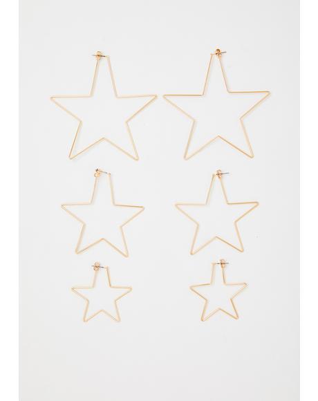 Golden Miss Superstar Earring Set