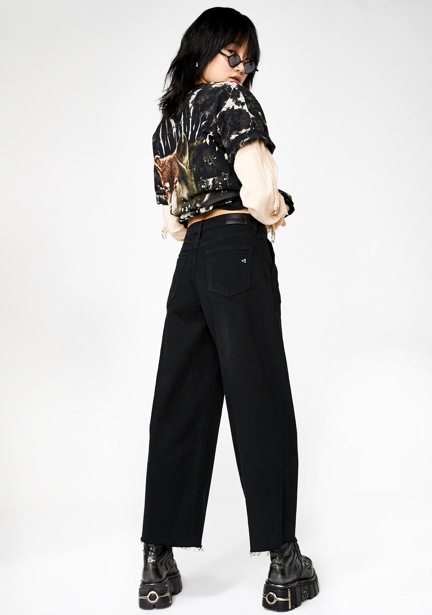 Hidden Denim Midnight Nori Utility Cropped Wide Leg Jeans