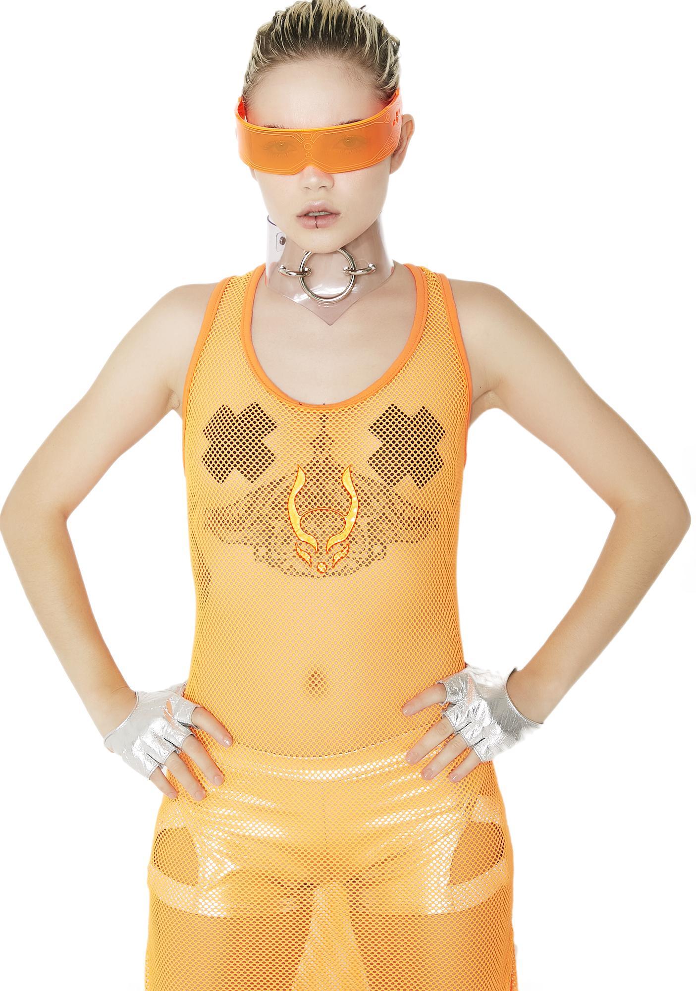 Cyberdog Rocker Mesh Maxi Dress