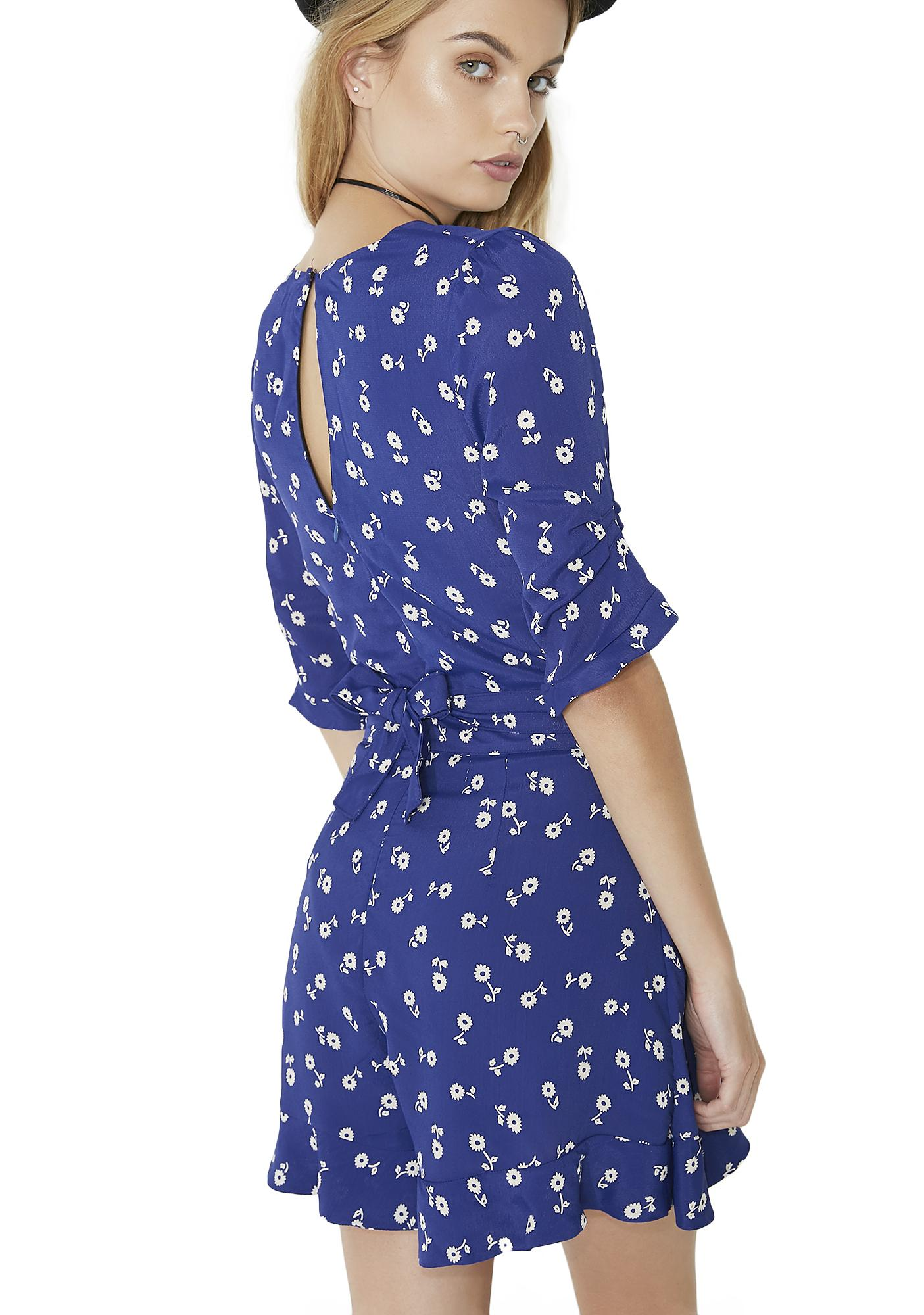 For Love & Lemons Blue Floral Romper
