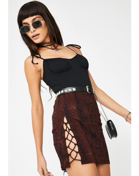 Brown Snakeskin Lace Up Mini Skirt