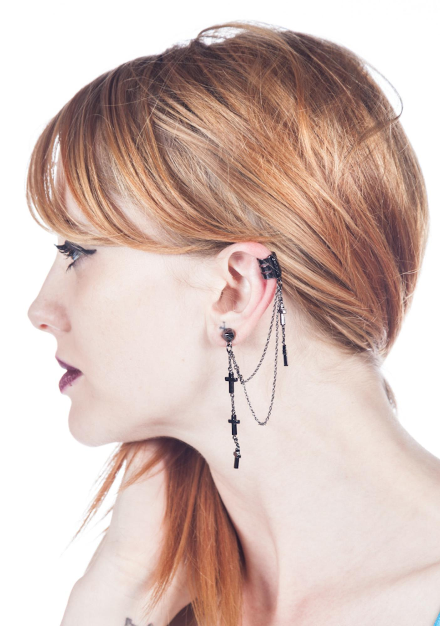 Wildfox Couture Black Hematite Cross Stud Earring and Cuff