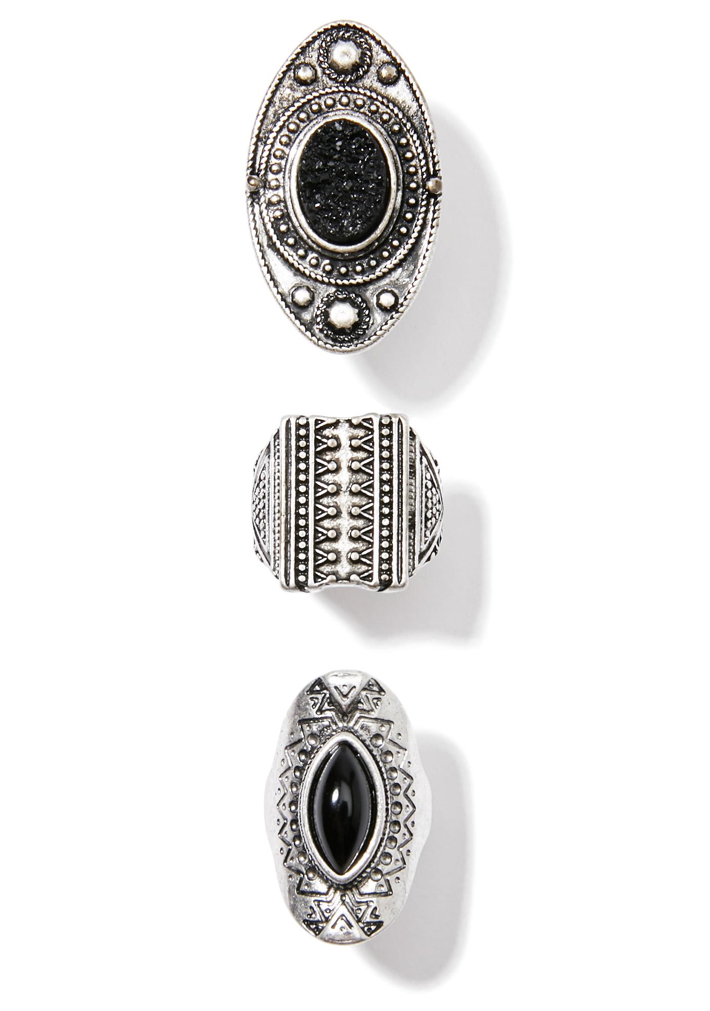 3 Piece Silver Carved Ring Set Gems Black