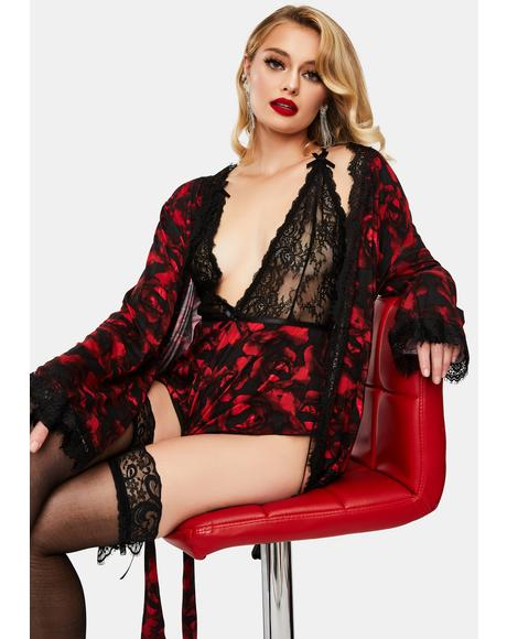 Stefania Rose Printed Robe