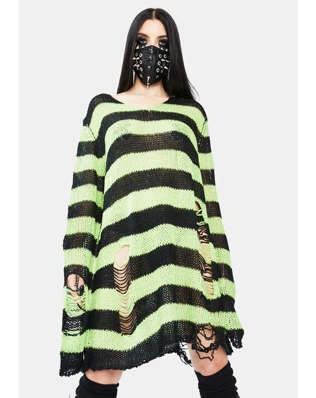 Haunting Nightmares Striped Sweater