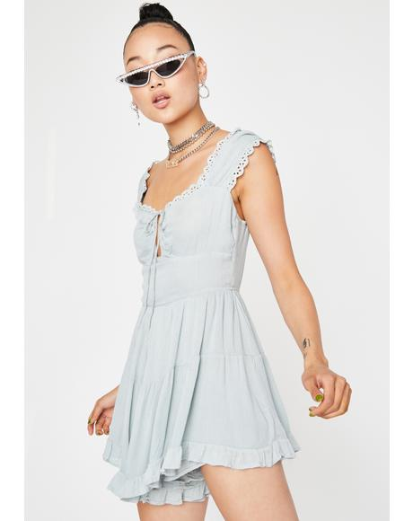 Celadon Babydoll Mini Dress