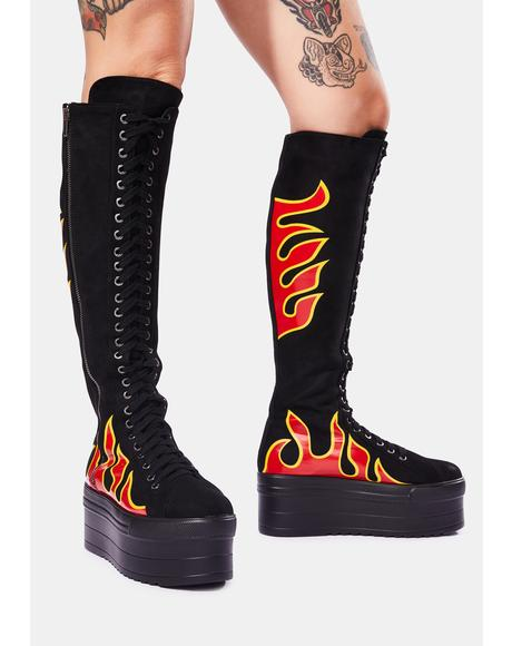 Burning Up Knee High Boots