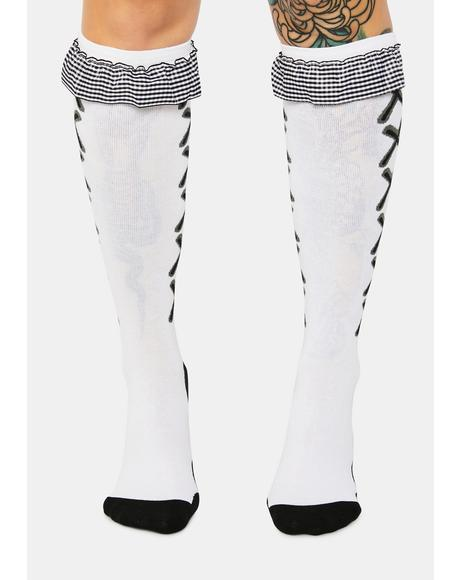 Night Not Your Doll Ruffle Knee High Socks
