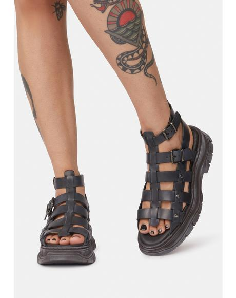 Black Gia Gladiator Sandals