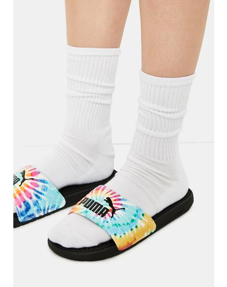 Tie Dye Cool Cat Women's Slides