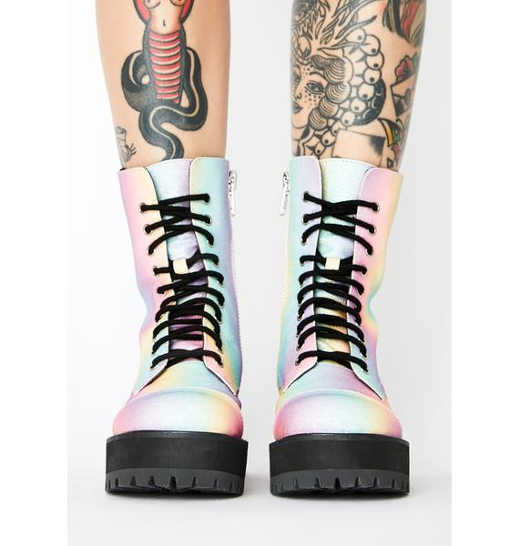 HOROSCOPEZ World Is My Oyster Combat Boots