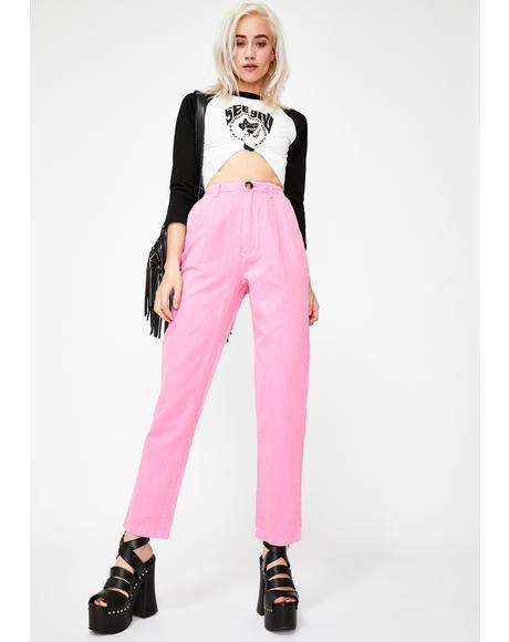 Hot Pink Horizon Linen Pants