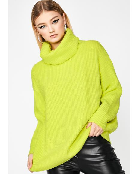 Lime Warm Welcome Turtleneck Sweater