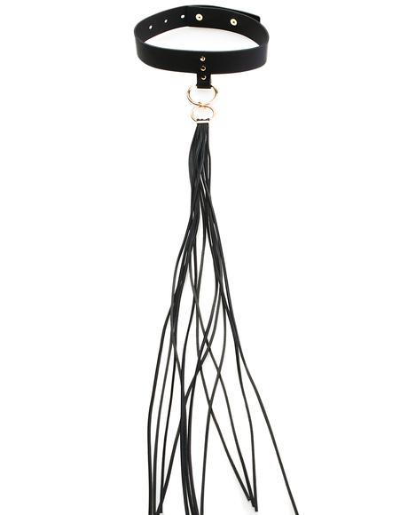 Long Fringe Leather Choker