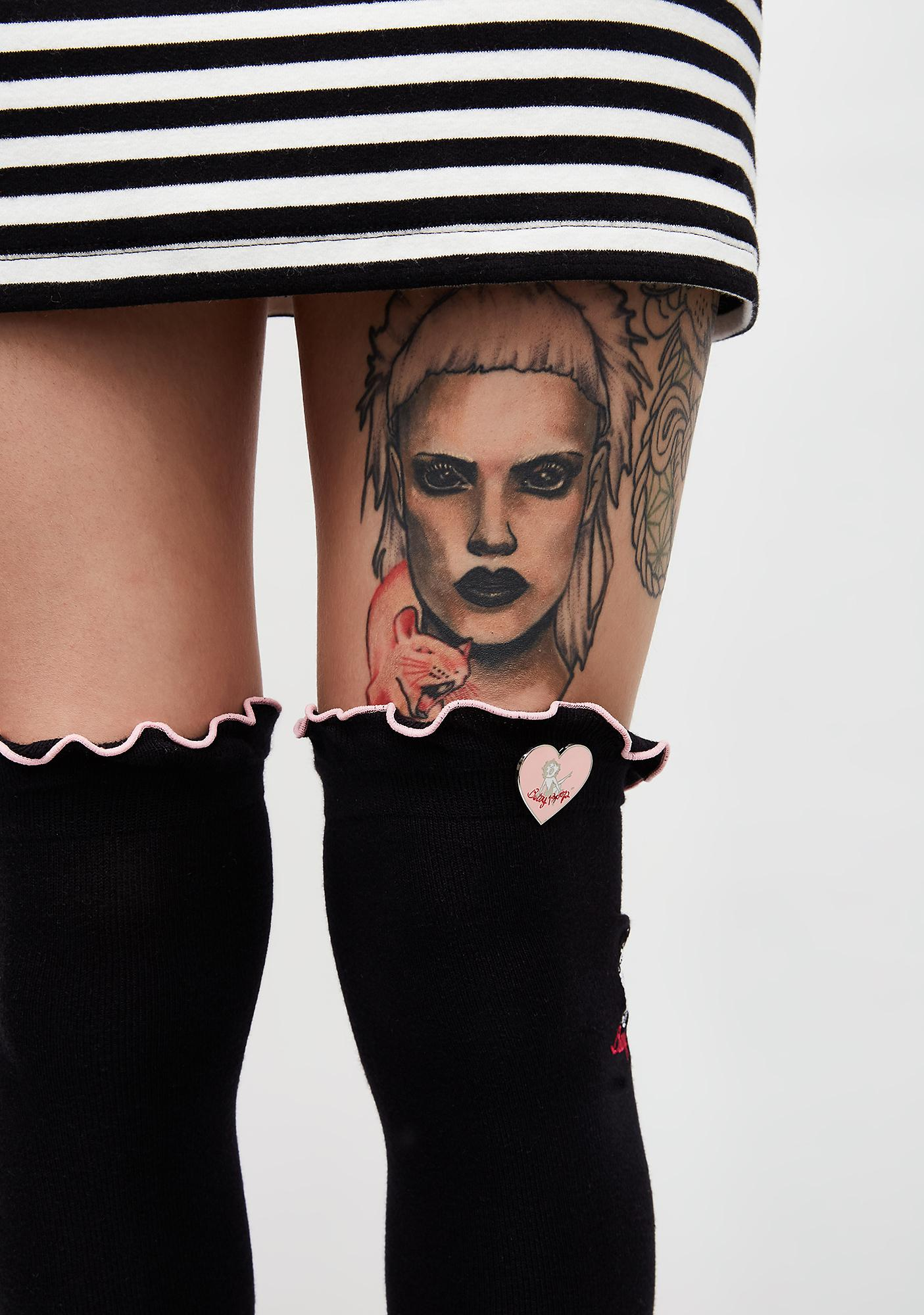 Lazy Oaf Betty Boop Over The Knee Socks