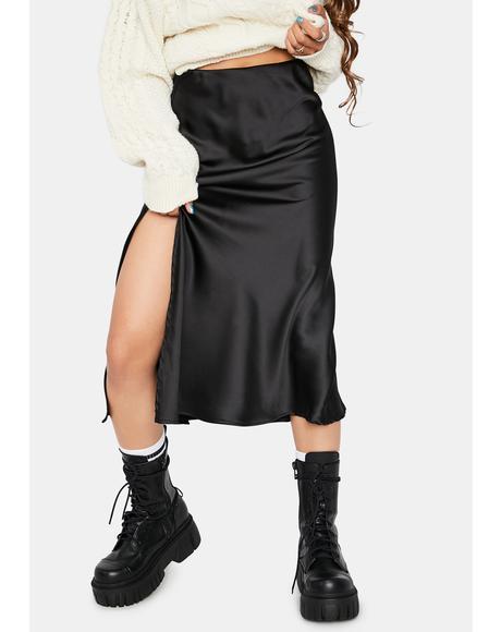 Rock The Boat Satin Midi Skirt