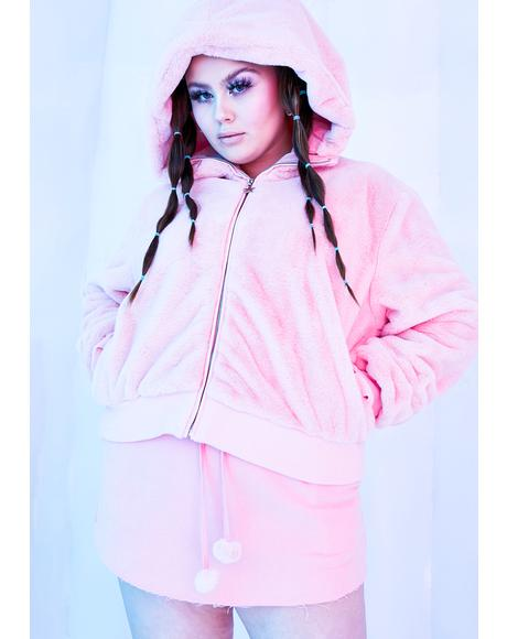 Blush True Nightcall Faux Fur Bomber Jacket