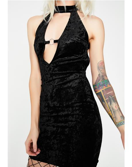 Onyx Crushed Soul Velvet Dress