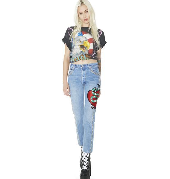 American Vintage Studded Snake Denim Jeans