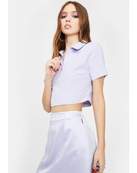 Lavender Corduroy Half Zip Crop Top