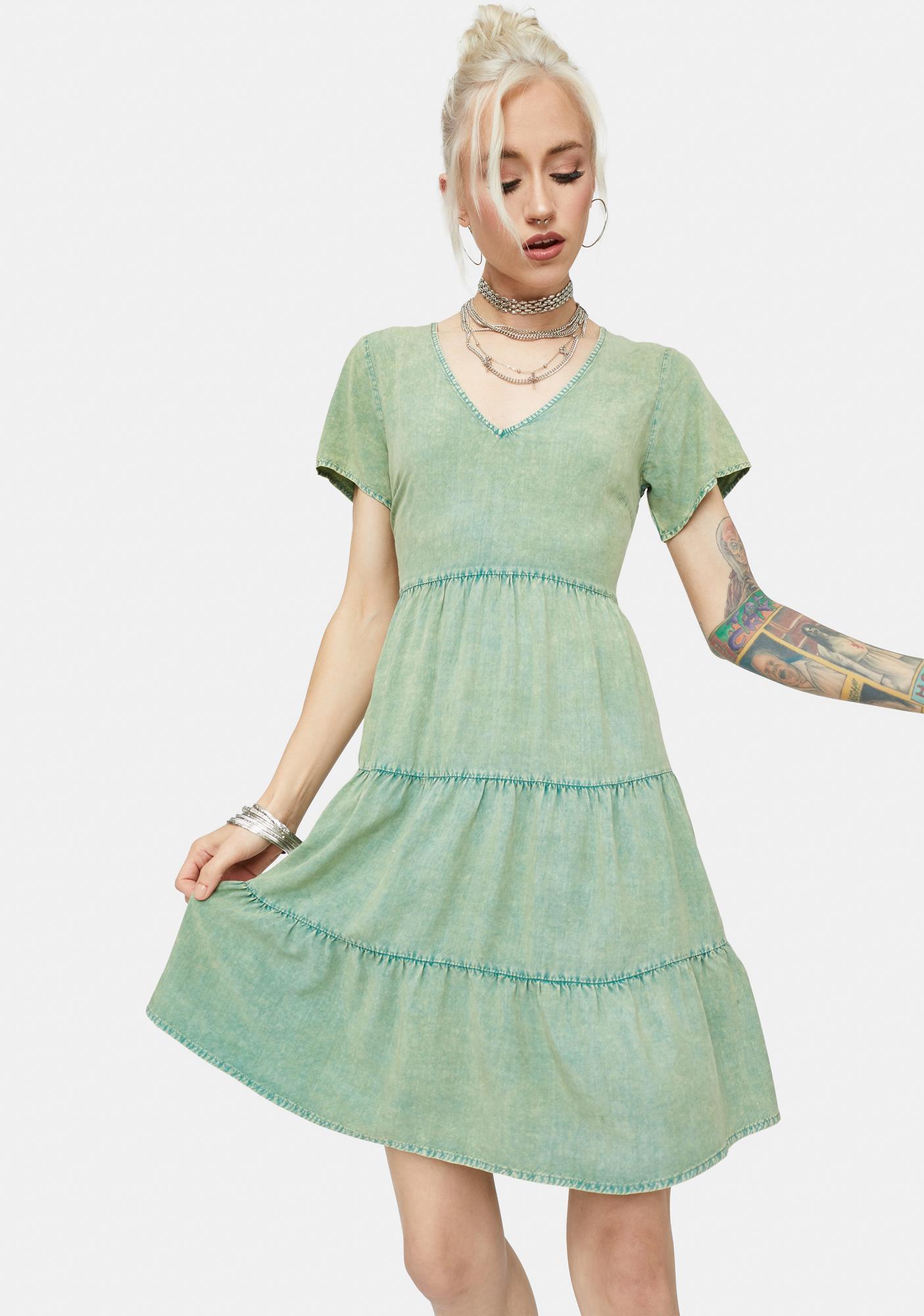 Sun Playtime Washed Babydoll Mini Dress