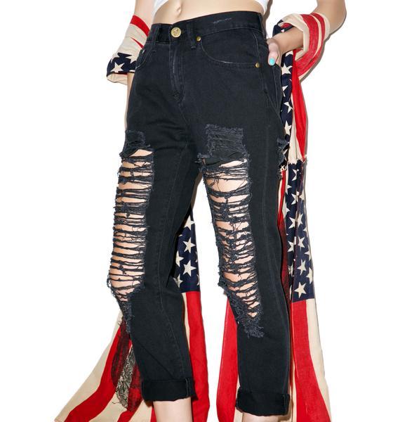Charley Destroyed Boyfriend Jeans