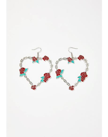 Fully Bloomed Heart Earrings