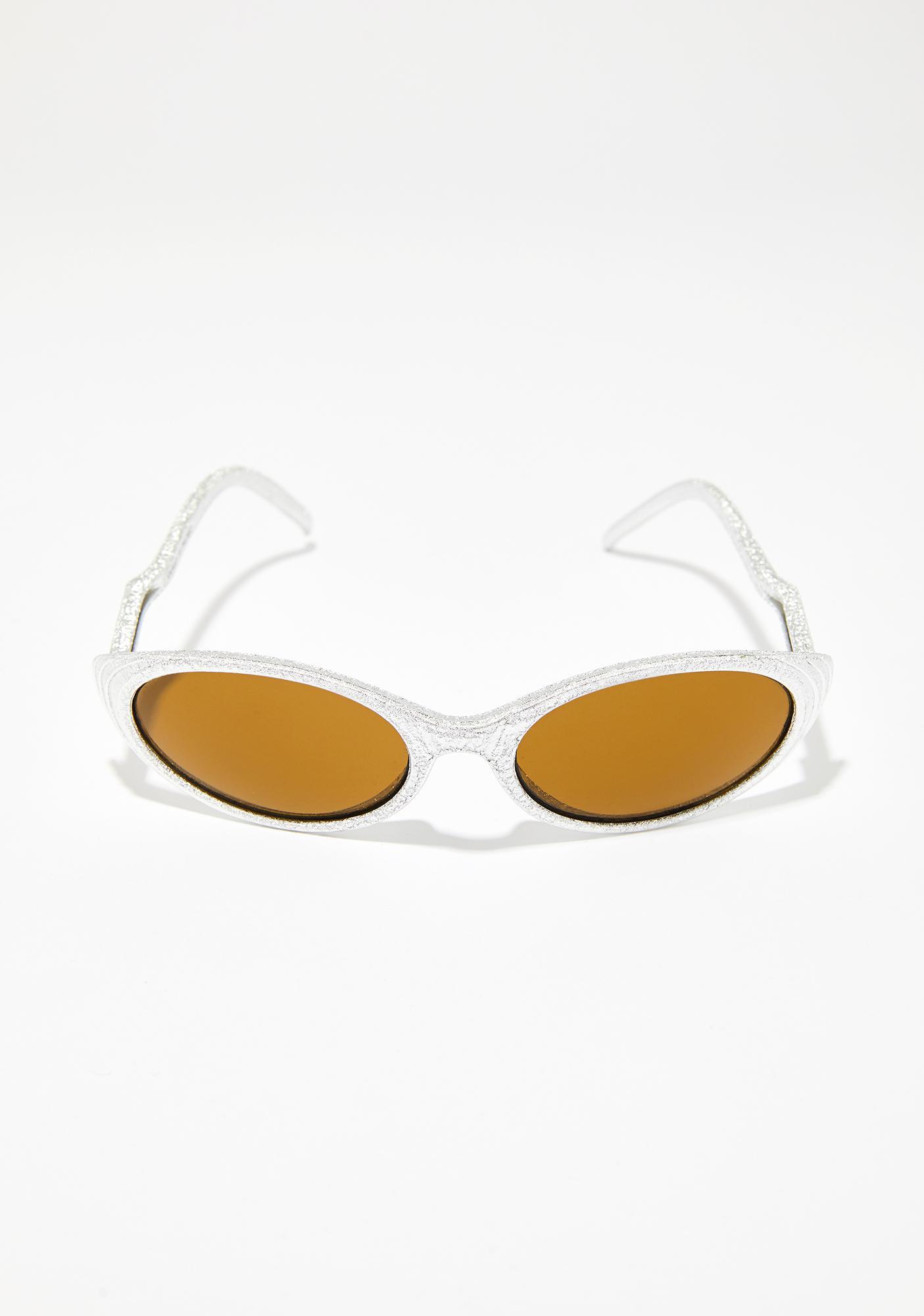 78e8de2b9a5 Clear Glitter Frame Gradient Cat Eye Sunglasses