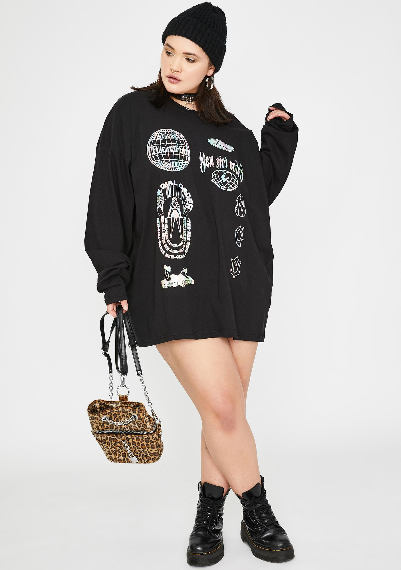 NEW GIRL ORDER Plus Holographic Graphic Long Sleeve