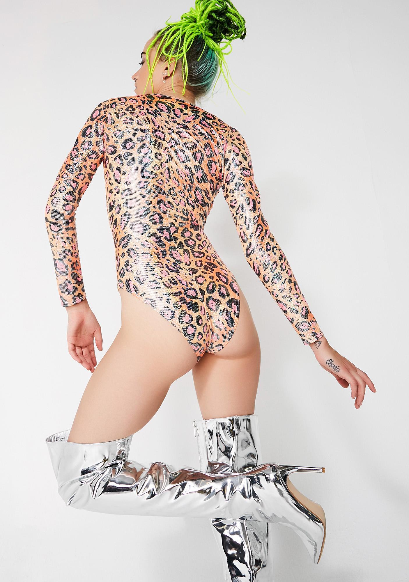 J Valentine Orange Leopard Lace-Up Bodysuit