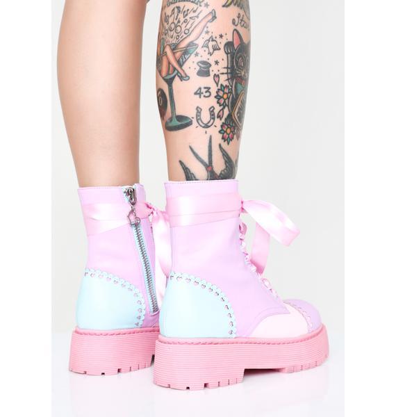 Sugar Thrillz Bubblegum Party Combat Boots